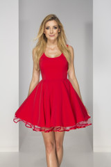 rozkloszowana sukienka bona czerwona