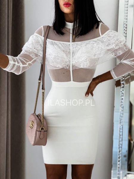 Beżowa sukienka ecru mini